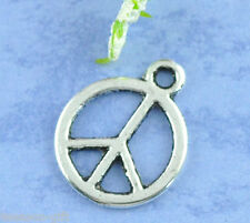 100 Silver Tone Peace Charms Pendants 15x12mm