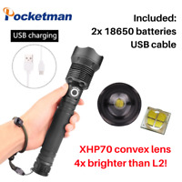 SUPER BRIGHT! XHP70 LED 40,000lumens TACTICAL TORCH FLASHLIGHT USB CABLE CHARGER