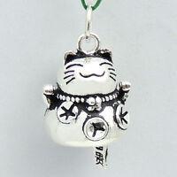 S925 Stamped Sterling Silver 14x22mm Vintage Maneki Neko Lucky Cat Pendant 204