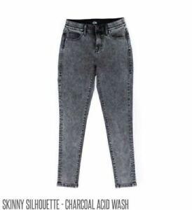 24 Lularoe Denim Jeans Skinny Gray Charcoal Acid Wash Lycra Stretch NWT