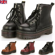 Womens Ladies Zip Creepers Chunky Cleated Platform Goth Punk Ankle Boots Shoes*