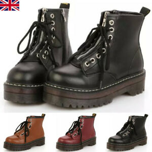 Women Goth Punk Creepers Chunky Platform Ankle Boots Zip Lace Up Round Toe Boots