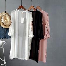 Floral Embroidery Womens Split Hem Long Kimono Jacket Summer Chiffon Coat UK S M