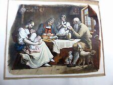 Familienleben Tischgebet Kinder Katze Hund Brot Käse Genre Tracht Litho 1830