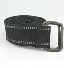 Black Fabric Textile Belt Double Black Matte Rings Size S/M