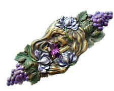 Purple Orchid Goddess Large French Clip Barrette Handpainted Brass 2157