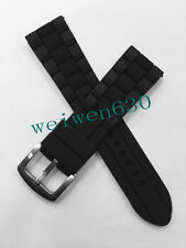 23mm Black Silicone Rubber Diver Watch Strap Band For Armani AR0593/5848/0584