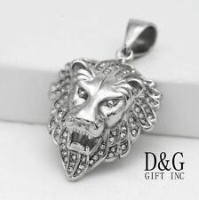 DG Men's Stainless-Steel Silver 46mm CZ Lion Head Pendant Unisex + Box