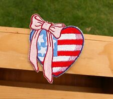 "Heart Shaped American Flag Pink Bow Red White & Blue 3 3/4"" Embroidered Patch"