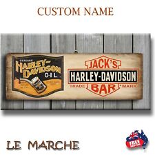 "HARLEY DAVIDSON ""Custom Name"" Wooden Rustic Plaque / Sign (FREE POST)"