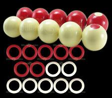 "Bumper Pool Ball Set 2-1/8"" Regulation Size + 7 Large Red & 7 White Rings"