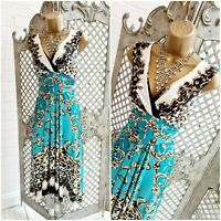 JULIEN MACDONALD 💋UK 10 Turquoise Baroque Fit & Flare High Low Dress ~Free P&P