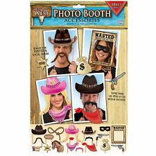 Wild Western Cowboy Photo Booth Props Sheriff Howdy Hats Masks Horse Party Pics