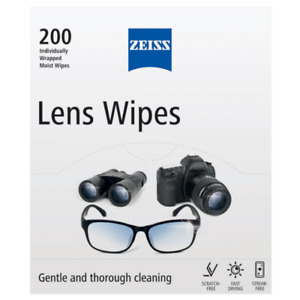Zeiss Lens Cleaning Wipes 200 Wipes Micro-Fine Tissue Pre-Moistened Wipes Moist