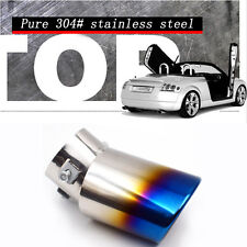 1PC Slant Burnt Titanium Curved Car S.S Exhaust Tail Pipes Muffler Tips Awesome