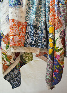 Indian Cotton Kantha Quilt Hand Block Printed Patchwork Bedspread Assorted Twin