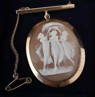 Antique 9ct gold cameo locket brooch, pendant brooch, three graces