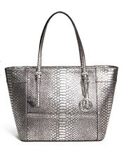 GUESS Delaney Classic Medium Tote Handbag Purse Python Embossed Metallic Silver