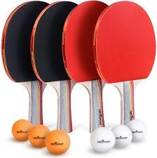 Abco Tech Ping Pong Paddle Set Table Tennis Set 4 Premium Rackets 6 Balls Rubber
