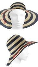 KATE SPADE NWT STRIPED CHIC SUN HAT EMBROIDERED DETAILING OUT AND ABOUT