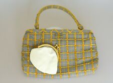 MANOLO BLAHNIK Clutch green mustard yellow check design internal change purse
