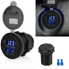 5V 2.1A USB Car Power Charger Voltage Display Socket Adapter Universal Blue led