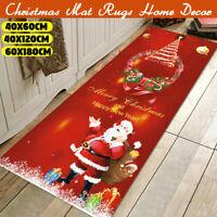 Christmas Santa Claus Anti-slip Kitchen Room Floor Mat Decor Carpet Rug Snowman