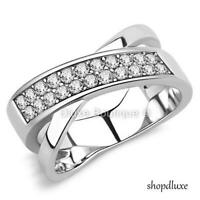 WOMEN'S ROUND CUT CZ STAINLESS STEEL ANNIVERSARY FASHION RING BAND SIZE 5-10
