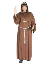 Friar Tuck Adult Monk Costume with Bald Wig Brown Medieval Standard Men's Hooded