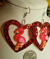 UNIQUE BIG Pink Flamingo 925 EARRINGS Glitter Heart Valentines Nora Winn