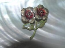 Flower Pin Brooch – 2 x 1.5 Vintage Dusty Pink & Tan Enameled Silvertone Double