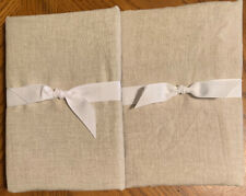 NEW 2PC Pottery Barn Belgian Flax Linen Contrast Flange KING Shams NATURAL WHITE