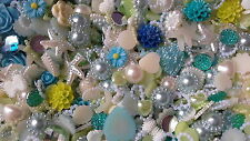 250 PCS SEA BREEZE DELIGHT MIX -MIXED EMBELLISHMENTS,  FLATBACKS,FLOWERS