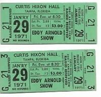 Eddy Arnold Concert Ticket Set of 2 1971 Tampa Green