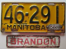 Manitoba 1949 License Plate WITH CITY OF BRANDON PLATE # 46-291