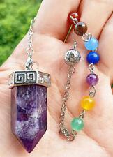 Amethyst Stone Chakra Pendulum Pendant Energy Power Reiki Healing Amulet
