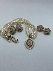 Vintage 1928 Fashion Pearl Necklace Porcelin Pink Flowers Pendant 2 sets Earring