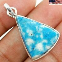 "Natural BLUE HOWLITE 925 SOLID STERLING SILVER PENDANT JEWELRY 1 1/2"" FE3-8"