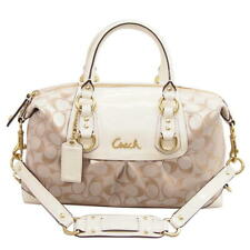 COACH Ashley Signature Sateen Satchel 2WAY handbag F154 · D1249 white × b (