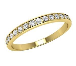 Wedding Ring Natural Round Cut Diamond SI1 G 0.30 Ct Appraisal 14K Gold Pave Set