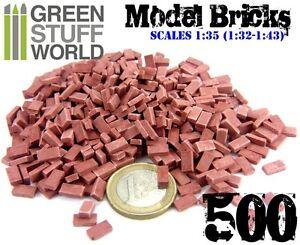 500x Ceramic Model Bricks - RED - Basing Scatter Scenery - 1/35 (1/32 - 1/43)