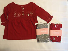 GYMBOREE Baby Girls 3-6 Month Penguin Chalet Grey Red Leggings Shirt Outfit NWT