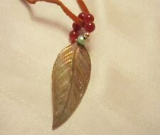 MIRIAML HANDMADE CARVED SHELL CARNELIAN PEARL ROSE GOLD PENDANT w/ Leather Cord
