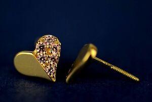 14K White or Yellow Gold Heart Shape CZ Stud Earrings