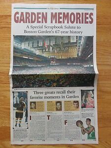 Eagle Tribune BOSTON GARDEN MEMORIES Newspaper BRUINS CELTICS Orr Russell Bird