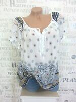 NEU ITALY Bluse Tunika Shirt Häkel Spitze Blumen IBIZA 38 40 42 Weiß E586