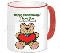 Personalised Love Teddy & Red Heart I Love You Happy Anniversary Valentines Mug