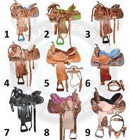 Youth Child Premium Leather Western Pony Barrel Racing Horse Saddle Tack Set