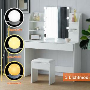 Schminktisch mit spiegel und hocker Beleuchtung Schublade Frisiertisch Weiß