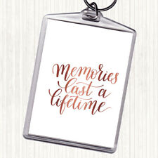 Rose Gold Memories Last Lifetime Quote Bag Tag Keychain Keyring